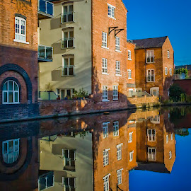 Post-Industrial Reflection by Ben Carrett - Buildings & Architecture Homes ( water, colour, reflection, uk, worcester, post industrial, symmetry, canal, diglis )