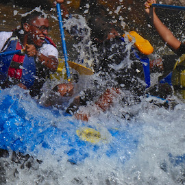 The fun of white water rafting! by Sandy Scott - Sports & Fitness Watersports ( animas river, water sports, colorado sports, rafting, white water rafting, people, crowd, humanity, society,  )