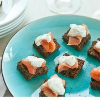 Salmon Pumpernickel Bites