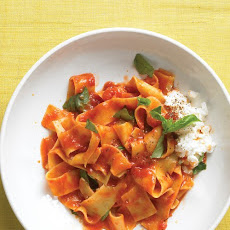 Broken Noodles with Tomato Sauce and Ricotta