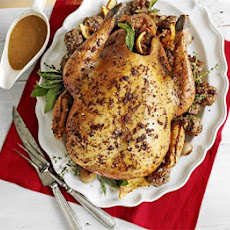 Roast Turkey With Pecan, Sausage & Chestnut Stuffing & Roast Shallots
