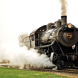 Blowing Steam by Rod Schrader - Transportation Trains ( no 475, railroad, locomotive, train, steam )