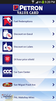 Screenshot of Petron Value Card