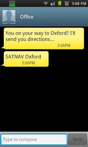 Navigate by Text Msg: SMS2NAV