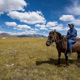 Boy on horse in Mongolia by John Park - Landscapes Travel ( herdsmen, herd, horse, children, mongolia, travel, landscape, boy )