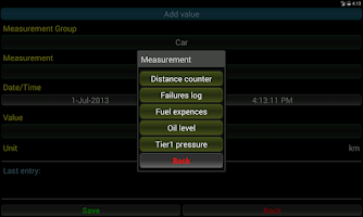 Screenshot of Diary of the measurements