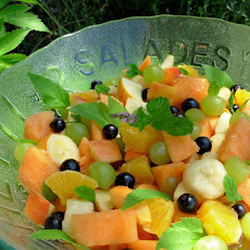 Peachy Fresh Fruit Salad With a Flourish of Angelica and Mint!