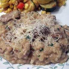 Garlicky Pork and Mushroom Risotto