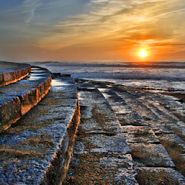 Steps to the sea by Antonio Amen - Landscapes Beaches ( sand, sunset, sun.twilight, sea, steps, beach, landscape )