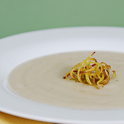 Celeriac Soup with Crispy Lemon Zest and Lemon-Infused Oil