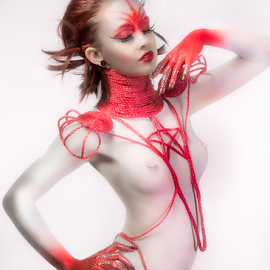 Body Paint by Marie Otero - Nudes & Boudoir Artistic Nude ( model, red, nude, creative, rope, female, fine art, paint, body paint )