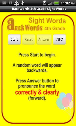Sight Words Backwords 4thGrade