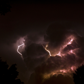 explosive by Paul Geilfuss - Landscapes Cloud Formations ( thunder, clouds, lightning, night, storm )