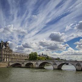 The Louvre Across the Seine by David Long - Buildings & Architecture Public & Historical ( seine, paris, louvre )