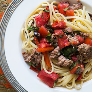 Pasta with Sausage, Tomatoes and Roasted Peppers