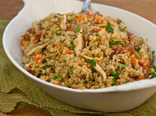 Warm Quinoa Pilaf Salad with Shiitake Mushrooms, Carrots & Pecans
