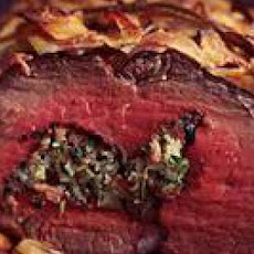 Pancetta-Stuffed Beef Tenderloin with Port Mushrooms