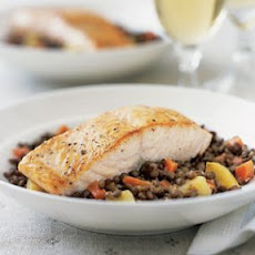 Salmon with Green Lentil Ragout