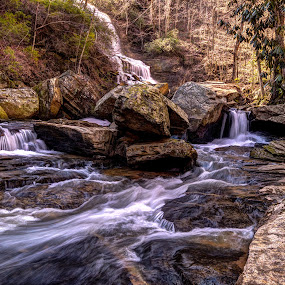 Smoky Mountain Stream by Flora Ehrlich - Landscapes Waterscapes ( water, mountains, mountain, carolina, waterfall, appalachian, north, landscapes, landscape, motion, river )