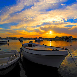 sunset over the port of Marzamemi  by Carmelo Parisi - Transportation Boats