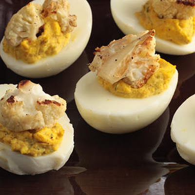 Vadouvan-Spiced Deviled Eggs with Roasted Cauliflower and Mint