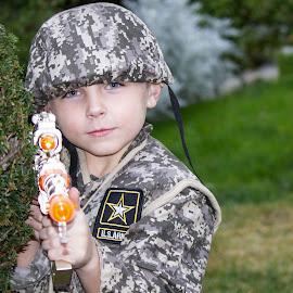 Playing Army by Jen Pezzotti - Babies & Children Children Candids ( child, army, costume, boy, halloween )