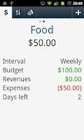 Screenshot of Balance and Budget
