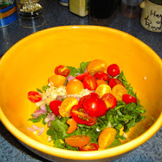 Semi-Cooked Cherry Tomatoes, Wild Watercress & Fresh Mozzarella for Bucatini