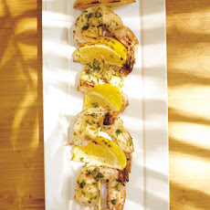 Shrimp Kebabs with Lemon Wedges and Cilantro