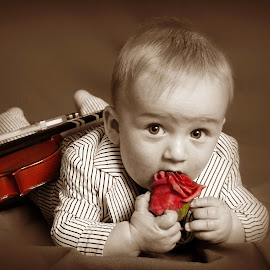 Enthusiastic Violinist by Simply Sensational - Babies & Children Babies ( violin, baby, boy )