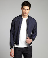 Prada navy and white zip front knit trimmed bomber jacket