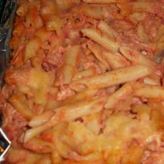 Chicken And Bacon Pasta In Tomato, Cheese And Mascarpone Sauce