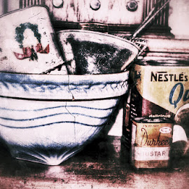In My Grandmothers Cupboard by Nikki Vig - Food & Drink Cooking & Baking ( distressed, bowl, vintage, kitchen, tin )