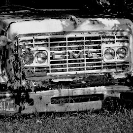GMC by Erin Czech - Transportation Automobiles ( broken, old, black and white, truck, gmc )