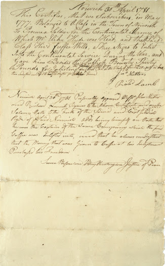 "This 1781 statement certifies that Cuffee Wells, who had enlisted in 1777, paid his enlistment bounty to his master in exchange for his freedom.   In the army, Wells became a surgeon's assistant in the Northern Division of the Army and tended the sick and wounded at Valley Forge in 1778. After the war he lived the rest of his life as a free man and was a respected member of the community in Lebanon, Connecticut.   Learn more about Cuffee Wells and this document <a href=""http://www.gilderlehrman.org/collections/treasures-from-the-collection/former-slave-doctor-cuffee-wells-1781"">here</a>."