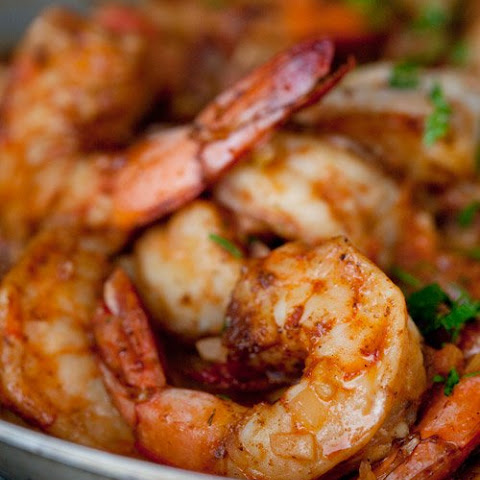 Smothered Shrimp and Andouille over Stone-Ground Grits