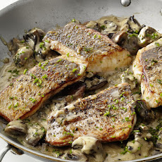 Striped Bass with Mushrooms