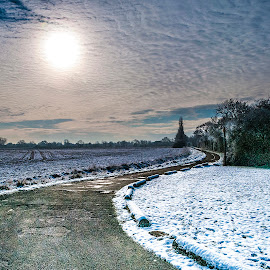 Many a winding road by Lee Morley - Landscapes Prairies, Meadows & Fields ( countryside, winding, twilight, track, road, long, lincolnshire, winter, cold, snow, path, trees, evening, fields )