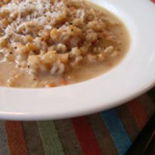 Vegetarian Italian barley and Parmesan cheese soup