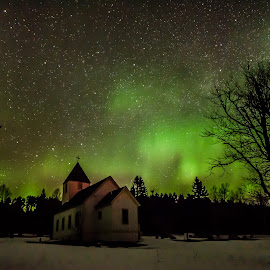 Heavenly Northern Lights by David Johnson - Landscapes Starscapes ( winter, church, colorful, stars, snow, aurora borealis, northern lights )