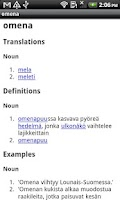 Screenshot of Finnish-Italian Dictionary