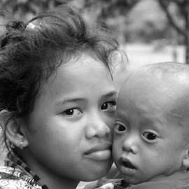 we are family by Dewa Rahmana - People Family ( child, potrait, black and white, lovely, candid,  )