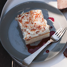 Coconut Sheet Cake with Hibiscus Sauce