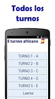 Screenshot of 5 Turnos Africano Calendario