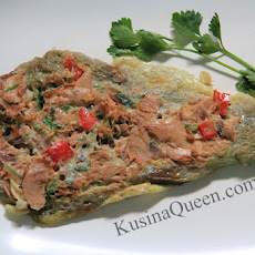 Tortang Talong at Tuna (Eggplant Omelette with Spicy Tuna)