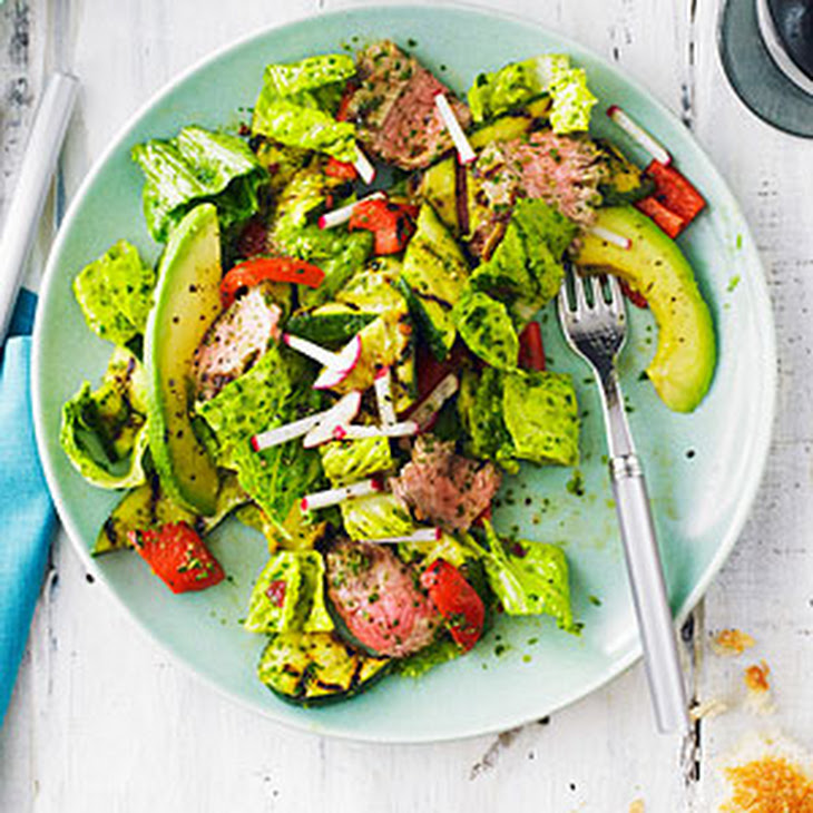 Grilled Steak and Vegetable Salad with Chipotle Chimichurri Dressing ...