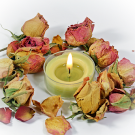 by Dipali S - Artistic Objects Still Life ( candle, rose, fragrant, dried, petals, flowers, light )