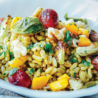 Kamut Salad with Roasted Grapes, Butternut Squash & Brussels Sprouts