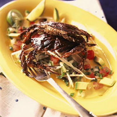Grilled Softshell Crabs with Jicama Salad and Tomato–Avocado Salsa