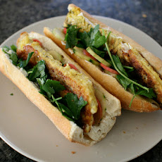 Curry Battered Barramundi Fillet Sandwiches with Garlic Mayo and Pickled Cucumbers